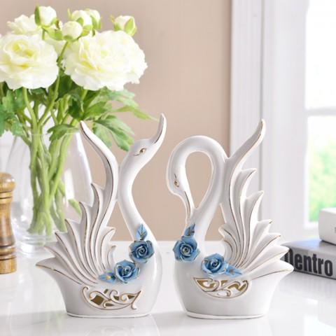 Đôi Thiên Nga gốm sứ hoa hồng xanh nghệ thuật 33040