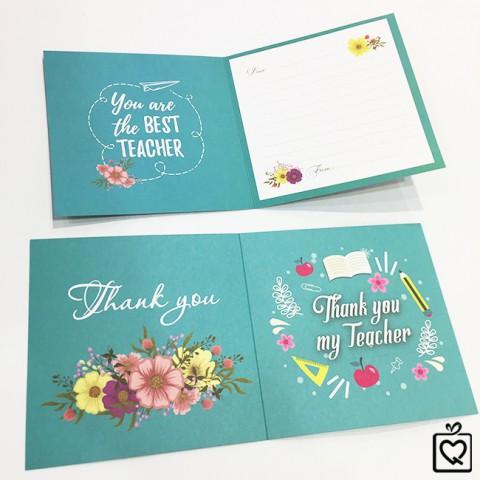 Thiệp vuông tặng thầy cô Bưu thiếp Thank you Teacher