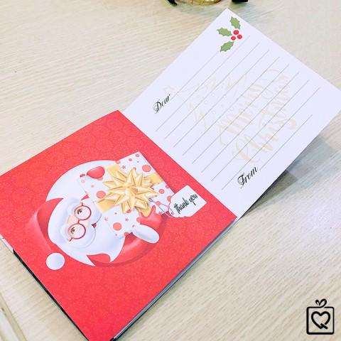 Thiệp Giáng Sinh Merry Christmas Đỏ -Vuông gấp