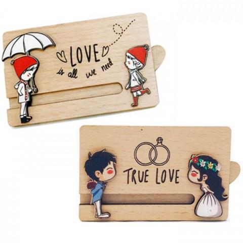 Thiệp kéo tình yêu gỗ 2 lớp