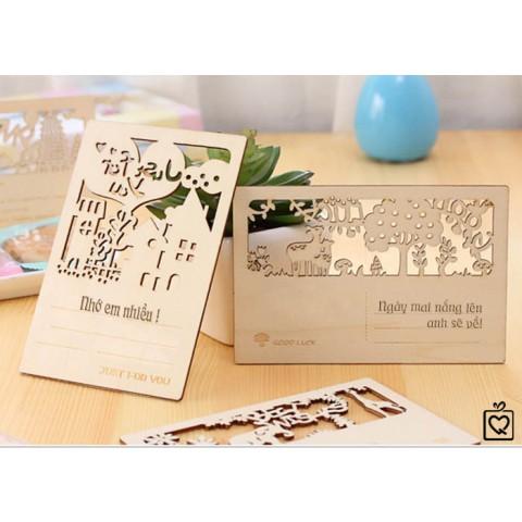 Thiệp gỗ khắc hình