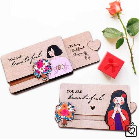 Thiệp gỗ kéo hình cô gái-Beautiful gỗ 2 lớp tặng bạn gái