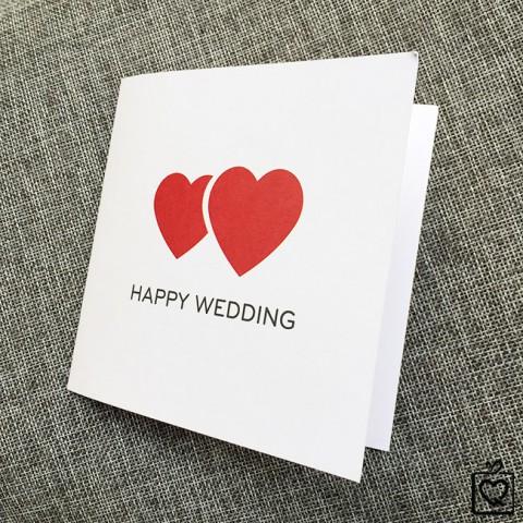 Thiệp vuông gấp Chúc Mừng Đám Cưới - Happy Wedding