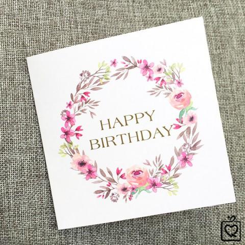 Thiệp vuông gấp floral Sinh Nhật - Happy Birthday
