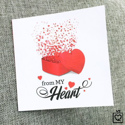 Thiệp vuông gấp Tình yêu - Từ trong trái tim tôi
