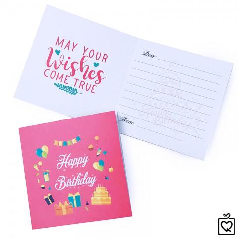 Thiệp vuông gấp Thiệp Vuông gấp Sinh Nhật - Happy Birthday Hồng