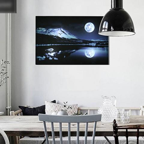 Tranh vải canvas đèn led - Ánh trăng phản chiếu