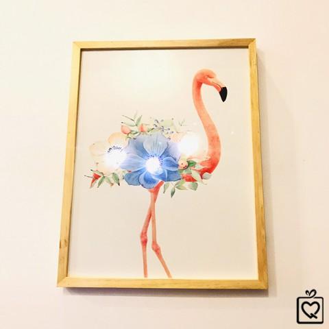 Tranh treo tường gỗ đèn Led Flamingo 35x45 cm