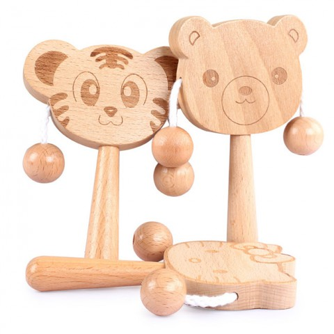 Trống lắc cầm tay bằng gỗ hình thú ngộ nghĩnh
