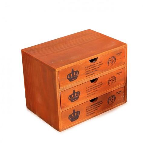 Tủ gỗ vintage đựng đồ 3 ngăn