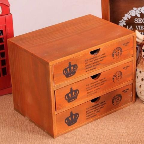 Tủ gỗ hộc kéo đựng đồ 3 ngăn vintage zakka