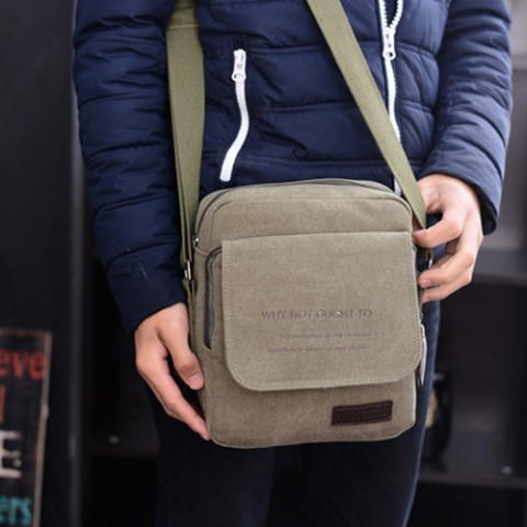 Túi đeo chéo nam hình vuông-nâu