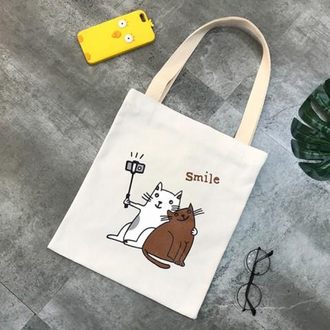 Túi Tote đôi mèo vải Canvas