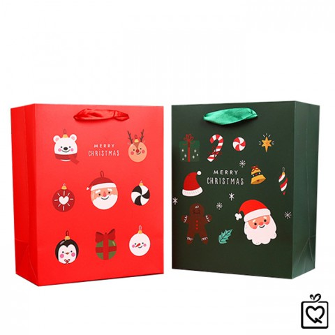 Túi đựng quà Giáng Sinh ông già noel chữ nhật đứng bằng giấy 23x18cm