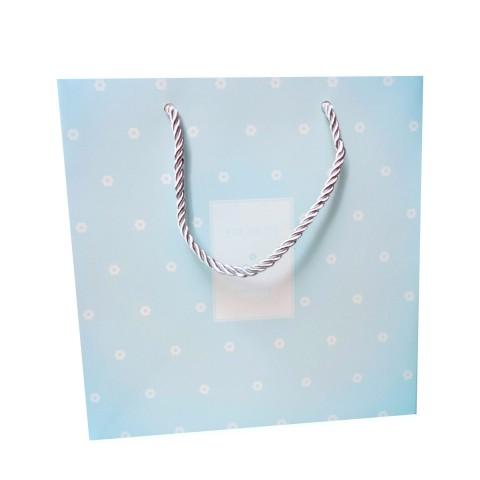Túi giấy đựng quà chấm bi xanh da trời