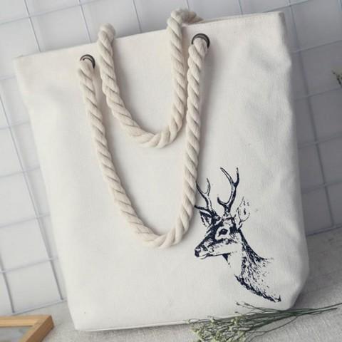 Túi vải đeo vai Tote hình đầu hươu