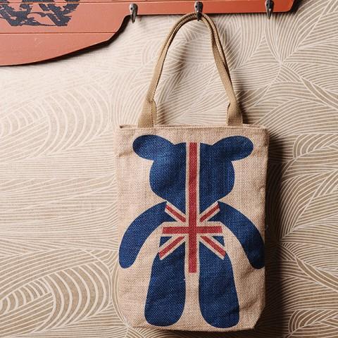 Túi tote vải canvas hình cờ gấu