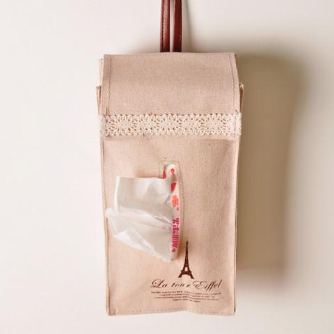 Túi đựng khăn giấy bằng vải có dây treo