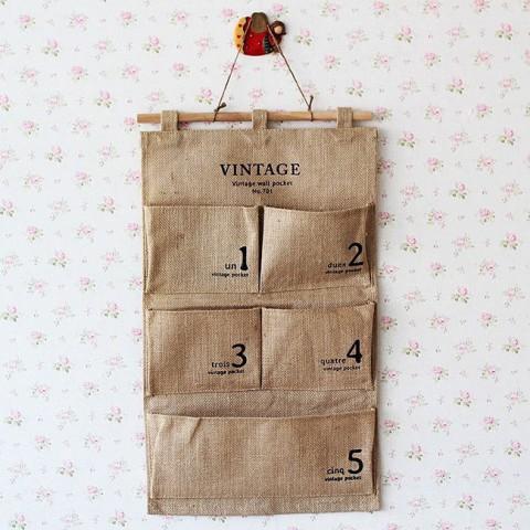 Túi vải 5 ngăn đựng đồ treo tường