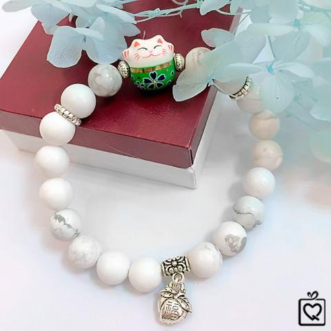 Vòng tay đá Howlite trắng mèo thần tài