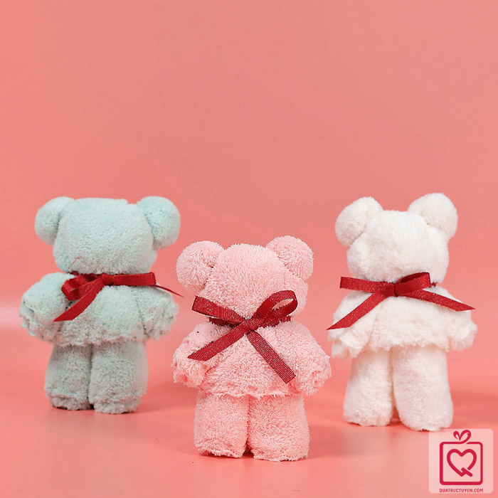 Khăn mặt gấp hình gấu teddy dễ thương