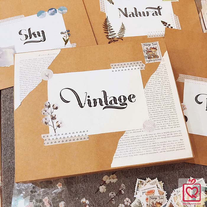 Quà tặng LuvGift set trang trí sổ Bullet Journal Vintage Luv101
