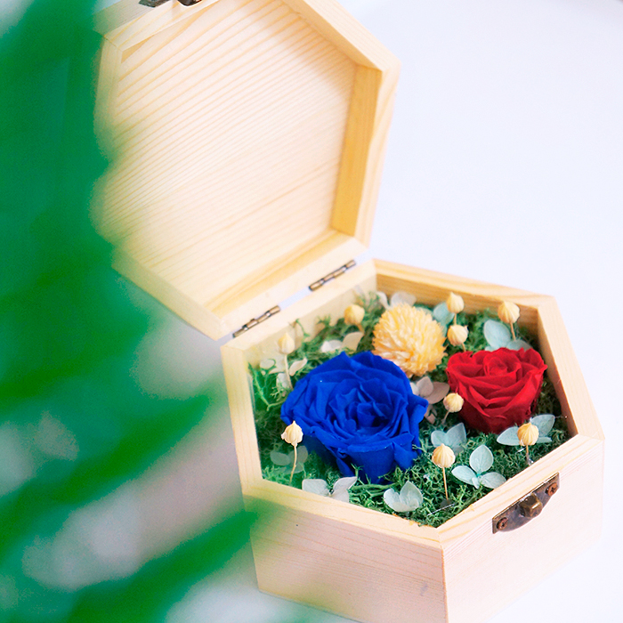 hoa hồng bất tử hộp gỗ lục giác hồng xanh