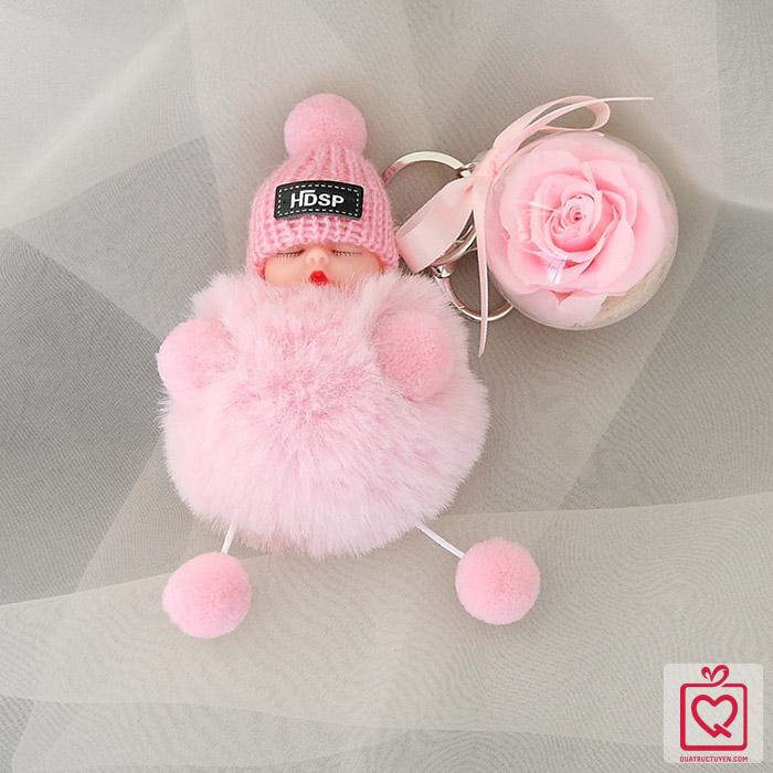Hoa hồng bất tử kèm móc khóa búp bê