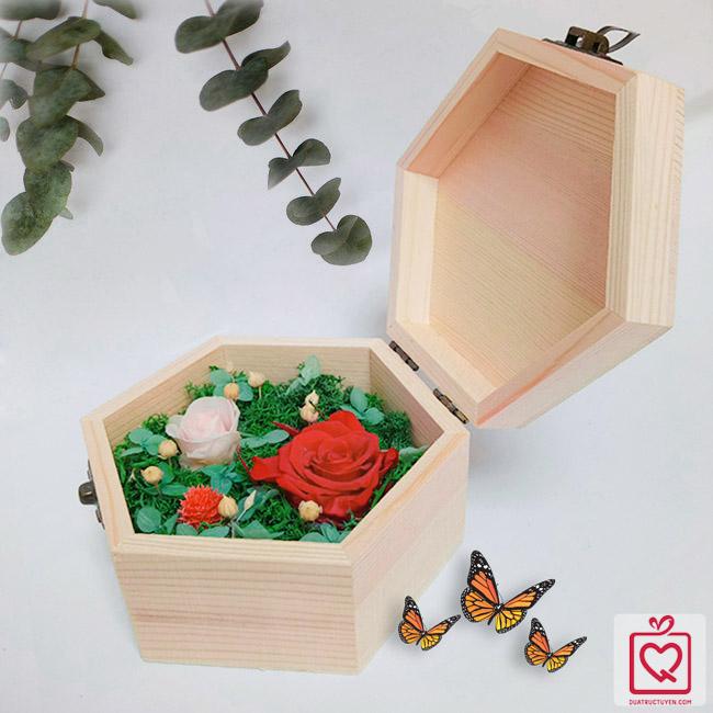 hoa hồng bất tử hộp gỗ lục giác hồng đỏ