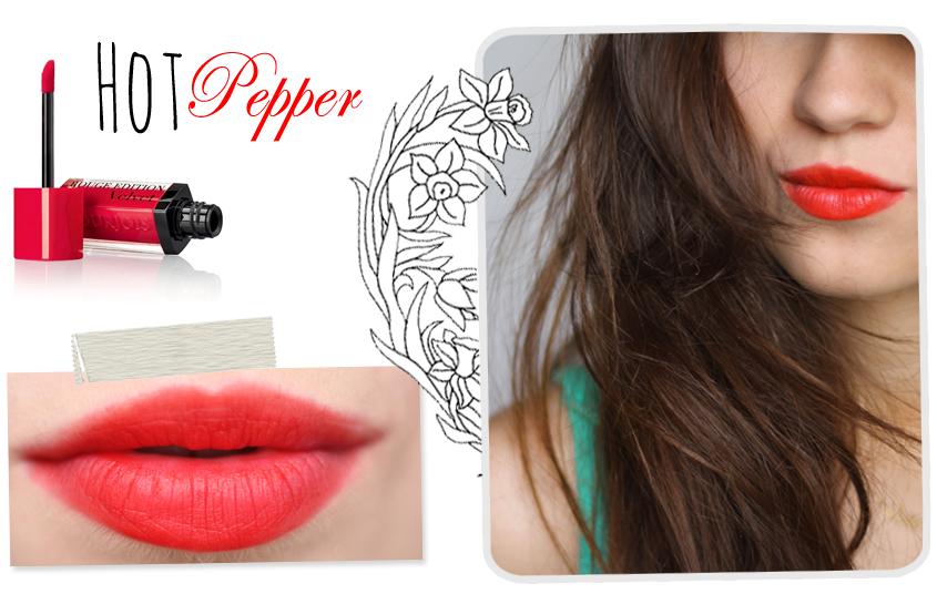 Son lì Velvet 03 Bourjois Rouge Edition Hot Pepper (Đỏ cam)