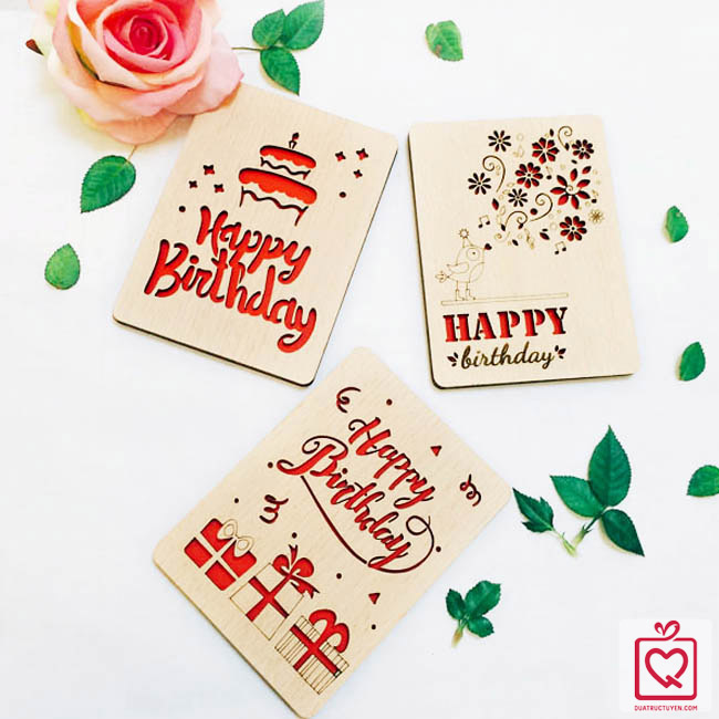 Thiệp gỗ sinh nhật
