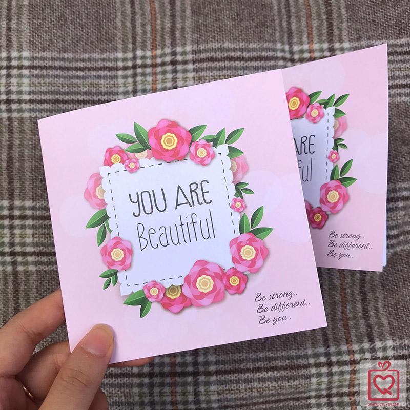 thiệp vuông gấp You Are Beautiful