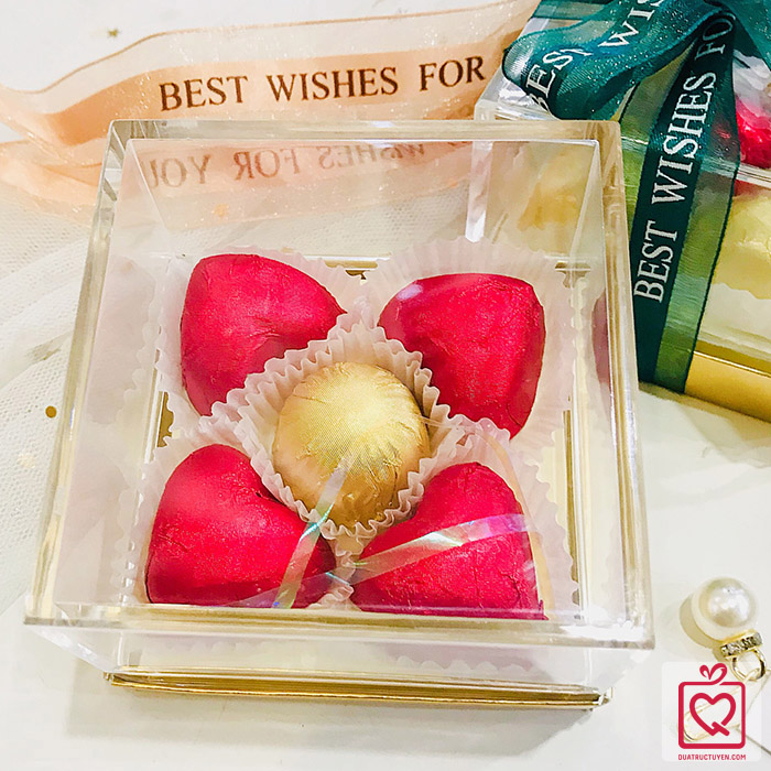 Socola Valentine Luvchocolate Trái Tim Vàng Son