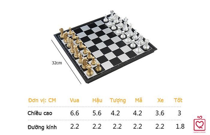Bộ cờ vua nam châm vàng bạc bàn gỗ cao cấp