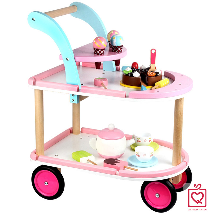 Bộ đồ chơi xe đẩy bánh và kem cho bé bằng gỗ