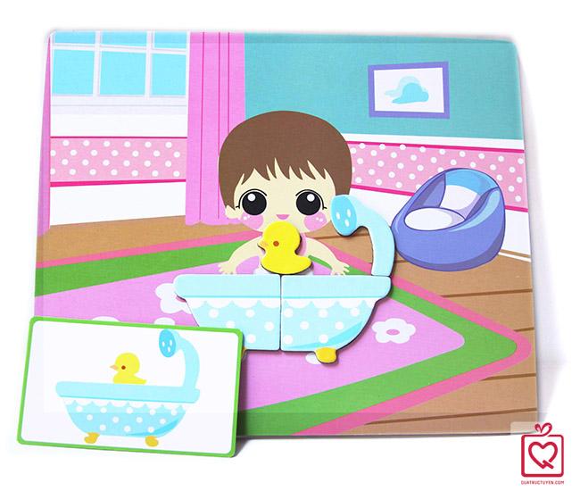 đồ chơi gỗ ghép hình chăm sóc em bé