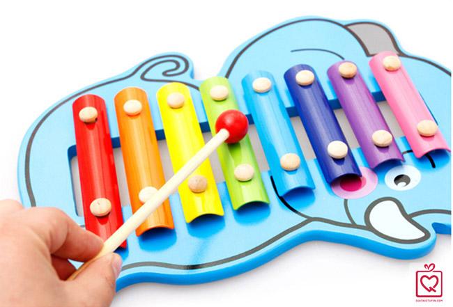 Đồ chơi gỗ nhạc cụ dân tộc hình chú voi