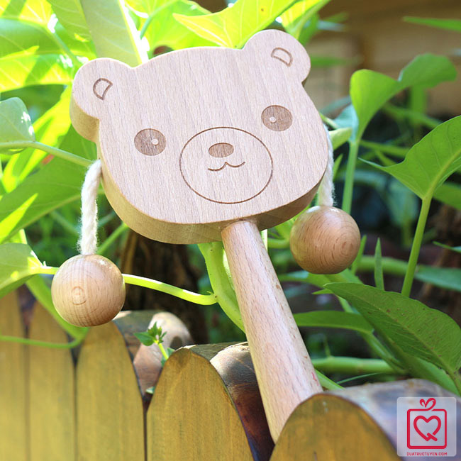 Trống lắc cầm tay bằng gỗ hoạt hình