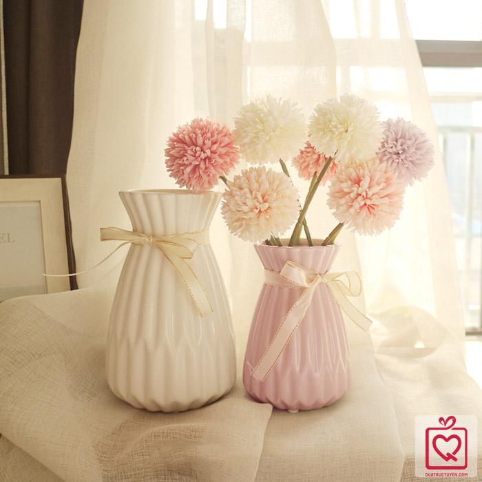 Lọ hoa gốm sứ phong cách Origami nơ cổ