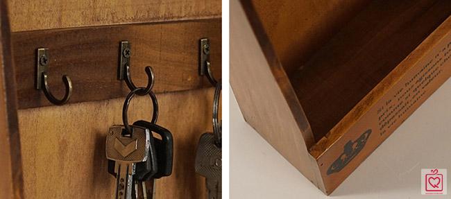 Tủ gỗ treo chìa khóa Retro không cánh