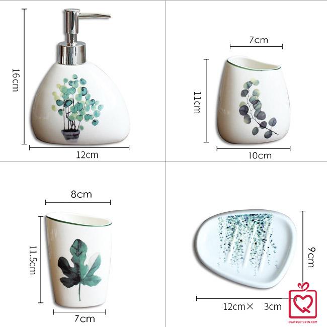 Bộ đồ dùng nhà tắm gốm sứ 5 món Tropical Series
