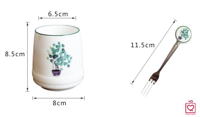 cốc sứ kèm 6 dĩa họa tiết lá xanh tropical