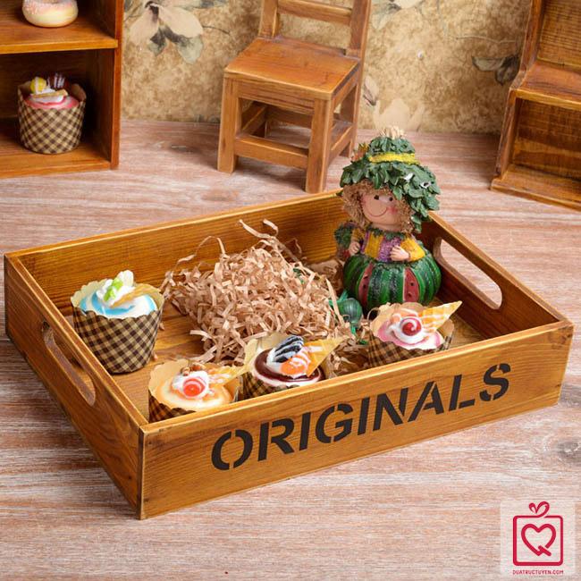 Khay vintage gỗ đựng đồ 1 ngăn