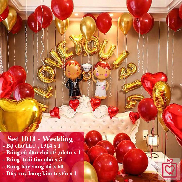 Set bóng trang trí phòng cưới, cầu hôn