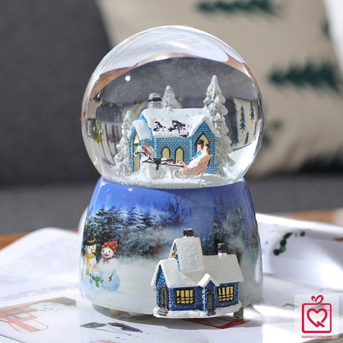 Hộp nhạc quả cầu tuyết giáng sinh kèm đế xoay tròn