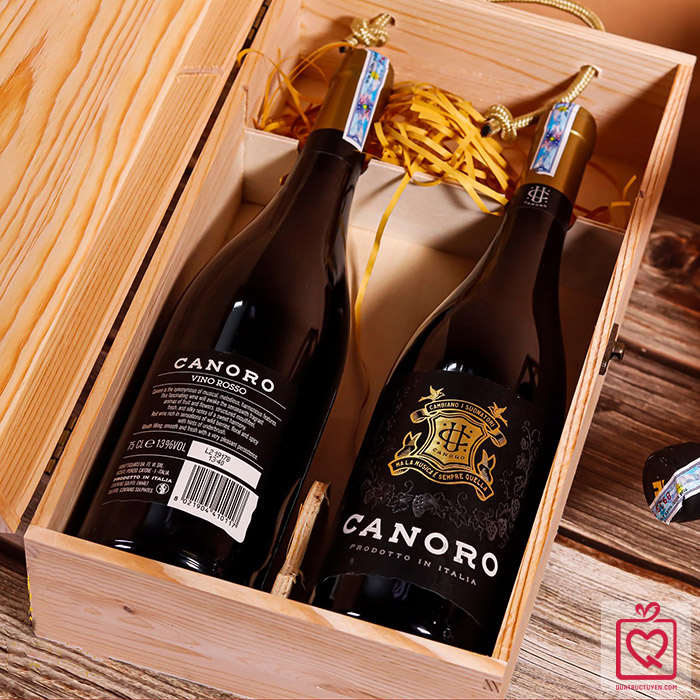 Hộp rượu gỗ khắc sang trọng