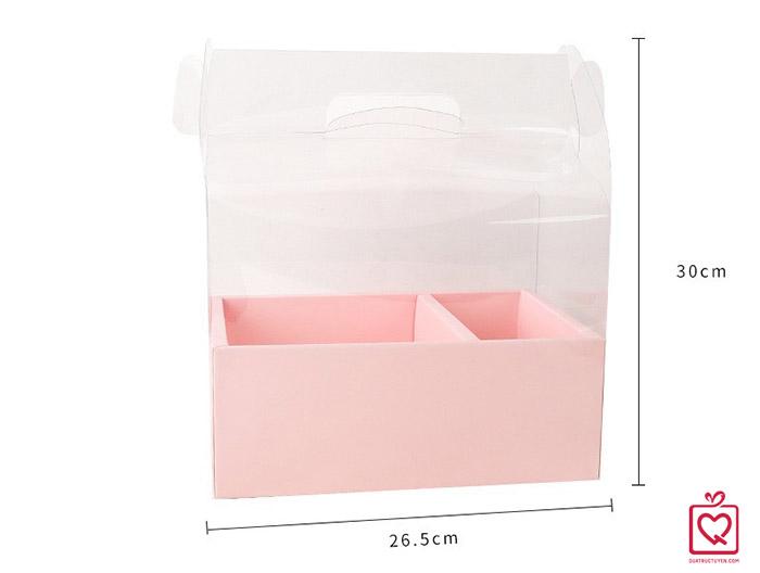 Túi hộp giấy 2 ngăn quai xách trong suốt
