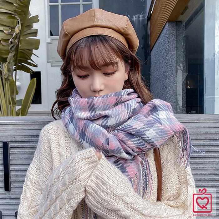 khăn quàng cổ len cashmere dệt phối màu