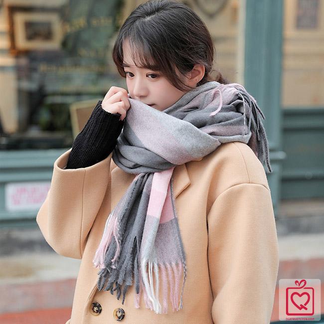 khăn quàng cổ len cashmere kẻ sọc phối màu