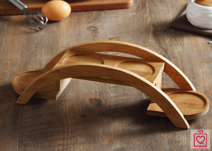 Bộ 4 hũ tròn đựng gia vị giá gỗ hình cầu